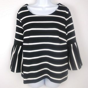 Eloquii Bell Sleeve Black and White Top Size 16